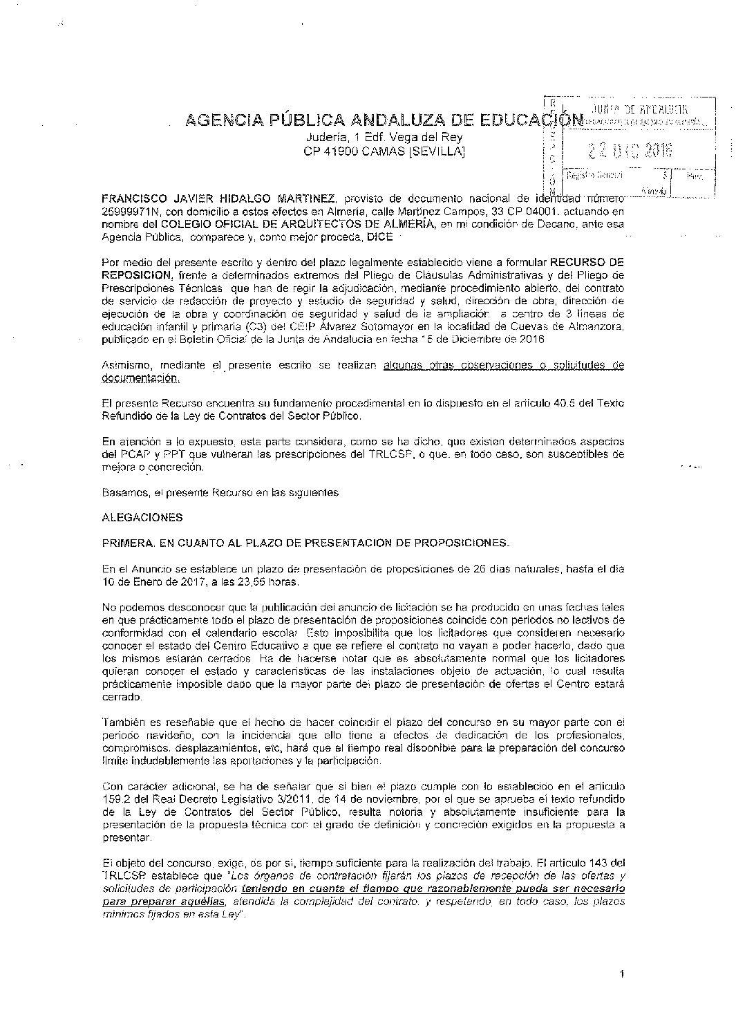 Recurso presentado por el colegio de arquitectos de - Colegio arquitectos almeria ...