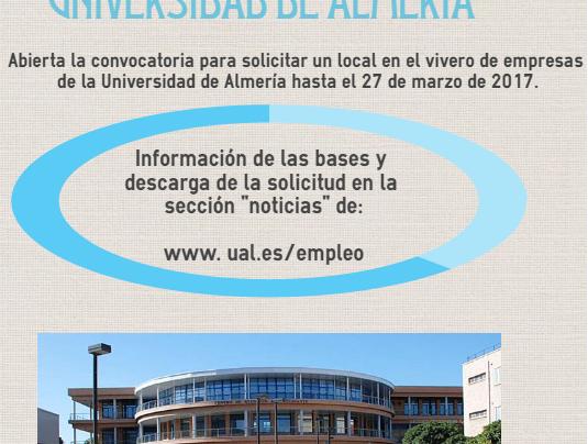 Vivero Empresas. UAL – solicita local gratuito, hasta 27.03.17